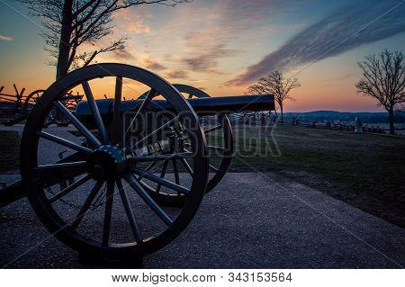 Cannon At Gettysburg National Park At Sunrise