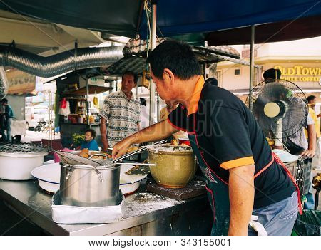 George Town, Malaysia - Aug 24, 2014. Street Food Restaurant Kitchen In Georgetown, Penang, Malaysia