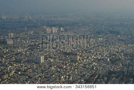 Aerial View Of Saigon (ho Chi Minh), Vietnam. Saigon Is The Financial And Economic Center, The Large