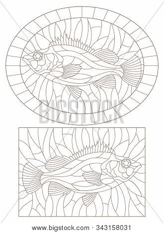 Set Of Contour Illustrations Of Stained Glass Windows With Sea Bass, Dark Outlines On A White Backgr