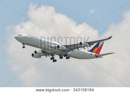 Bangkok, Thailand - Apr 21, 2018. Philippine Airlines Rp-c3437 (airbus A340-300) Landing At Suvarnab