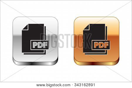 Black Pdf File Document. Download Pdf Button Icon Isolated On White Background. Pdf File Symbol. Sil