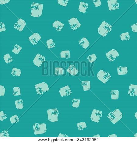 Green Pdf File Document. Download Pdf Button Icon Isolated Seamless Pattern On Green Background. Pdf