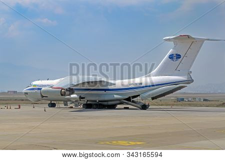Cargo Aircraft  Ilyushin Il 76-td  Made At Plant Yuzhmash, Kharkov On The Platform Of The Airport. G