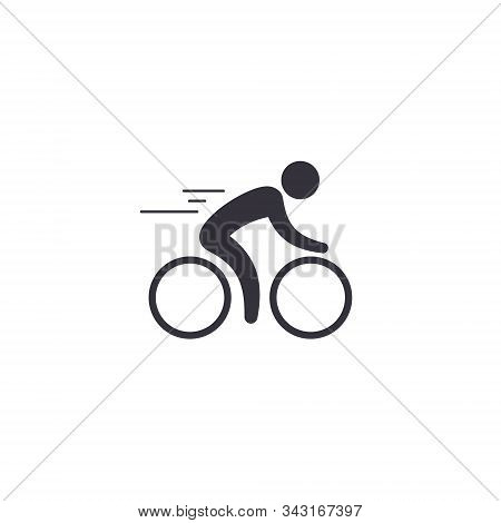Cyclist Icon. Simple Flat Logo Of Cyclist On White Background. Silhouette Of A Cyclist. Vector Isola