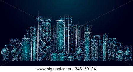 Petroleum Oil Refinery Complex Low Poly Business Concept. Finance Economy Polygonal Petrochemical Pr