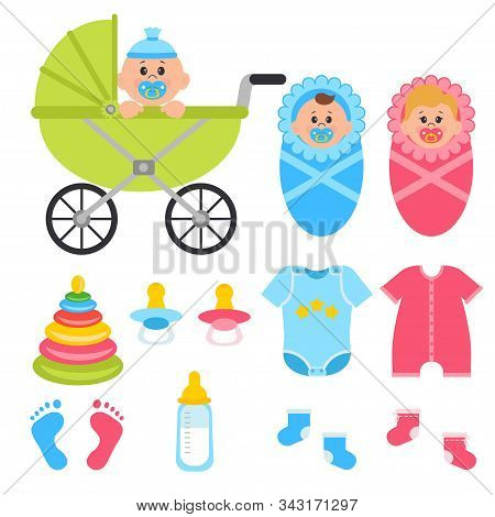 Vector Illustration Set Of Baby Supplies Isolated On White Background. Girl And Boy, Clothes, Baby N