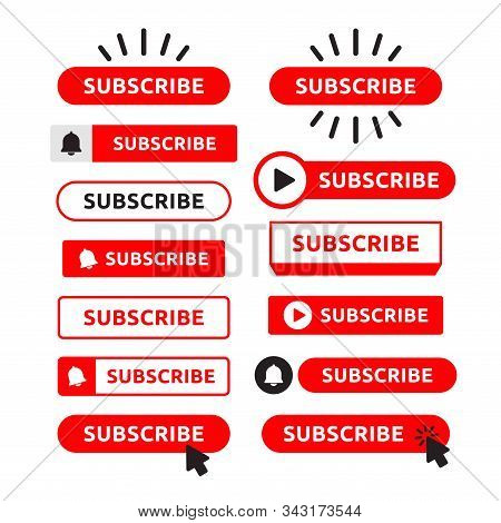 Subscribe, Bell Button Set. Red Button Subscribe To Channel, Blog. Social Media Background. Marketin