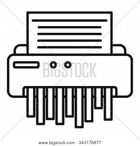 Paper Shredder Icon. Outline Paper Shredder Vector Icon For Web Design Isolated On White Background