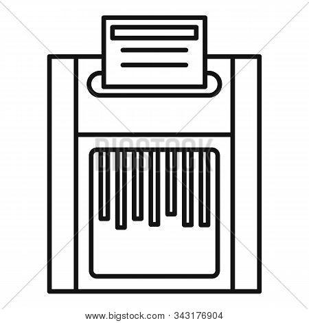 Office Shredder Icon. Outline Office Shredder Vector Icon For Web Design Isolated On White Backgroun