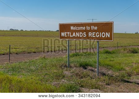 Northern Territory, Australia - June 2, 2019: Road Sign At The Entrance To Wetlands Region Of Northe