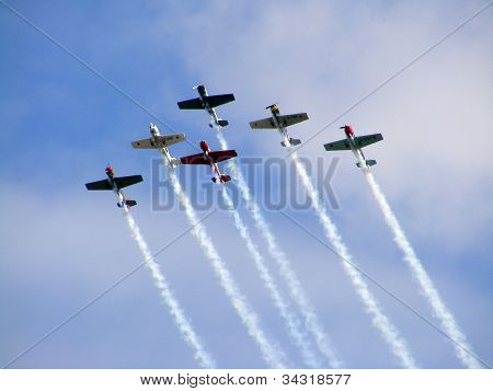 Aerobatic team Yakovlevs during airshow