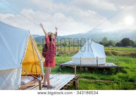 Asian Girl Happy And Relax Inside Tent In Countryside Homestay In Rice Farm In Pua District, Nan Pro