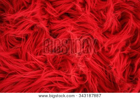 Shaggy Carpet With Wool Material For Backgrounds Texture, Close Up Of Soft Romantic Pastel Red And F