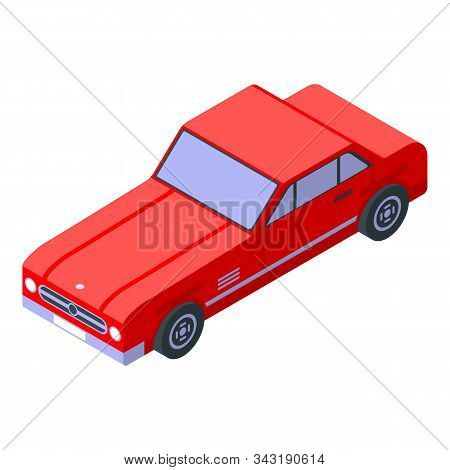 Red Cabrio Car Icon. Isometric Of Red Cabrio Car Vector Icon For Web Design Isolated On White Backgr