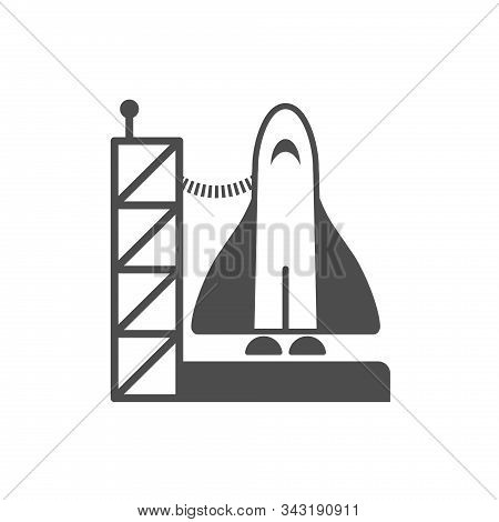 Space Shuttle On Spaceport Vector Icon Isolated On White Background. Space Shuttle Flat Icon For Web
