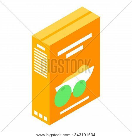 Cereal Food Package Icon. Isometric Of Cereal Food Package Vector Icon For Web Design Isolated On Wh