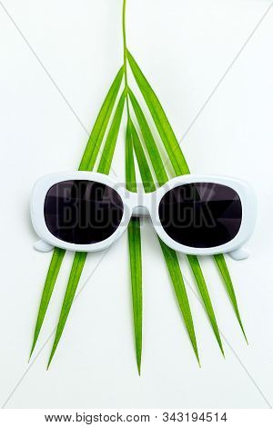 Palm Leaf And White Sunglasses On White Background. Travel Concept.  Vertical