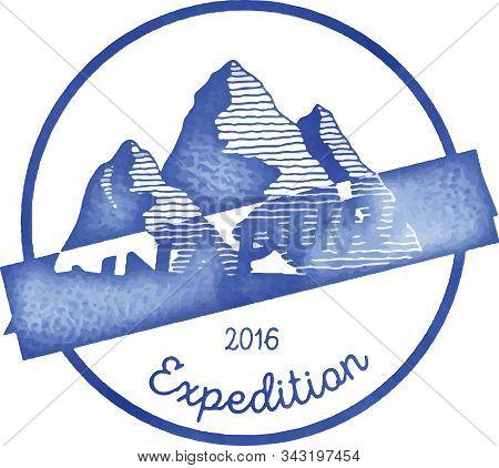 Mountain Annapurna Outdoor Adventure Insignia. Climbing, Trekking, Hiking, Mountaineering And Other