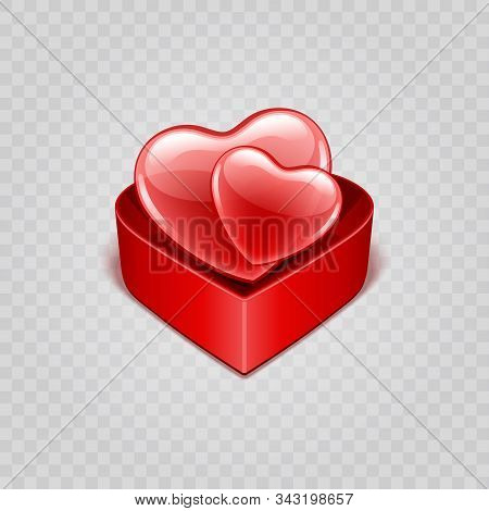 Two Red Shiny Hearts Shapes In Gift Box Isolated On Transparency Background Vector Illustration