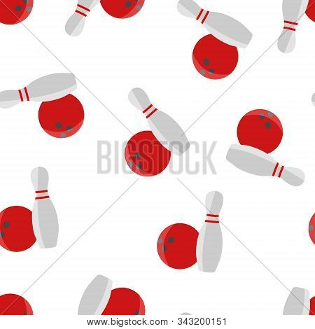 Bowling Vector Icon. The Ball Symbol Of Bowling Seamless Pattern On A White Background.