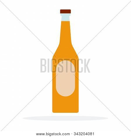 Fruit Liqueur Vector Flat Material Design Isolated Object On White Background.