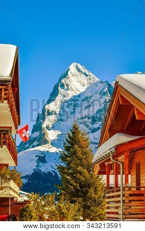 Beautiful Winter Mountain Landscape In Sunny Weather With Views Of Eiger. Grindelwald, Bernese Oberl