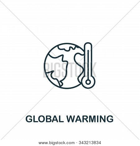 Global Warming Icon From Clean Energy Collection. Simple Line Element Global Warming Symbol For Temp