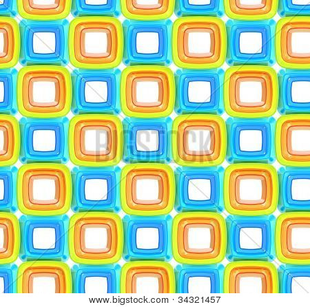 Seamless abstract geometric background  made of glossy bright square figures poster
