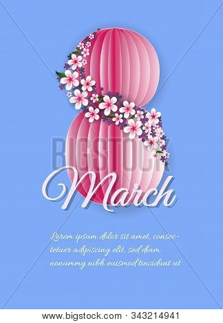 International womens day poster. 8 number 3d illustration. Happy Mothers Day. Eps10 vector illustration with place for your text. 8 March, International Women's Day, Happy Mother's Day. Paper cut style banner with flower, butterfly. Pattern, background of