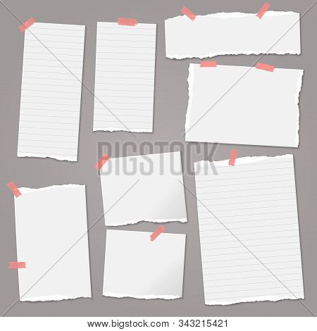 Set Of Torn White, Lined Note, Notebook Paper Strips And Pieces With Soft Shadow Stuck With Sticky T