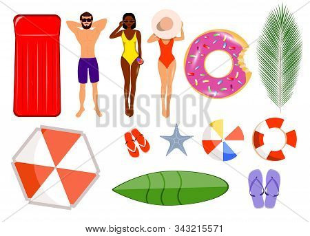 Summer set of isolates. Hello Summer, summer time, summer day, summer day background, summer banners, summer flyer, summer design, summer with people in the pool, vector illustration. Isolated man, girl in swimsuit, African American woman in cocktail biki