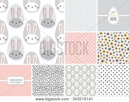 Cute Set Of Childish Easter Seamless Patterns With Hand Drawn Bunny, Creative Spring Design In Naive