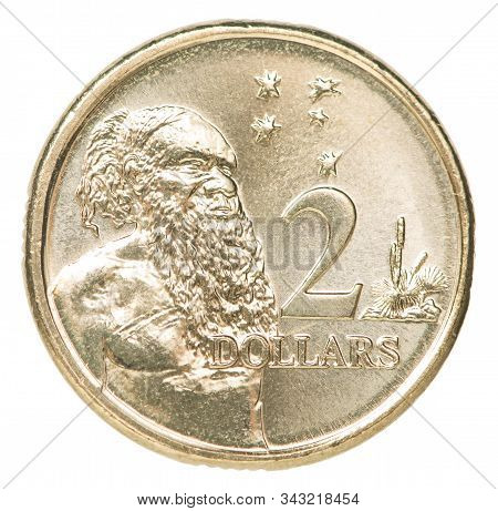 Two Australian Dollar Coin With The Image Of The Australian Aborigine Isolated On White Background