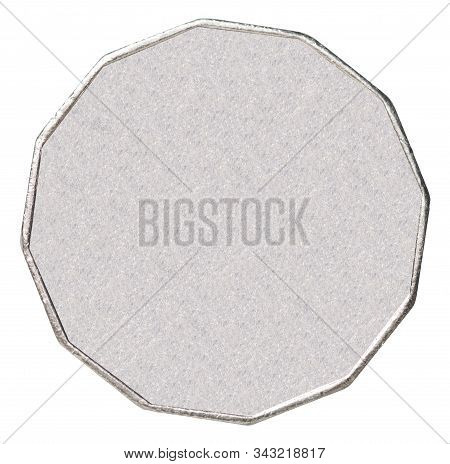 Australian Blank Silver Coin Isolated On White Background Close-up