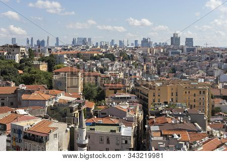 Istanbul, Turkey - July 27, 2019: Panoramic View From Galata Tower To City Of Istanbul, Turkey