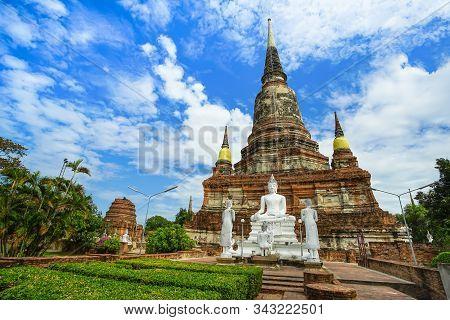 Beautiful Scene Of Wat Yai Chai Mongkhon (or Mongkhol), Ayuthaya, Thailand.