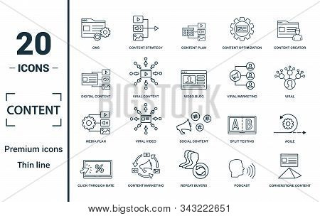 Content Icon Set. Include Creative Elements Cms, Content Plan, Digital Content, Viral Marketing, Med