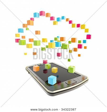 Mobile phone cloud computing concept