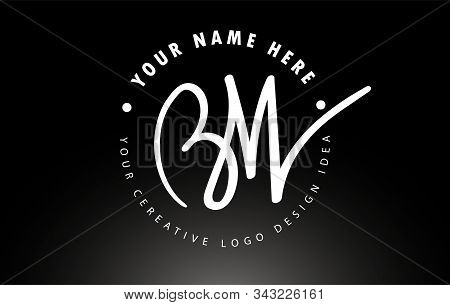 Bw Handwritten Letters Logo Design With Circular Letter Pattern. Creative Handwritten Signature Logo