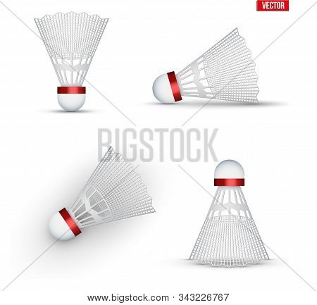 Set Of Badminton Shuttlecocks. Badminton Sport Equipment. Shuttlecocks From Various Angles. Vector I