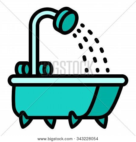 Shower Bathtub Icon. Outline Shower Bathtub Vector Icon For Web Design Isolated On White Background