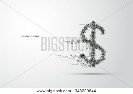 Usd Money Icon. Shape From Dots, Particle Style Design. Illustration Vector