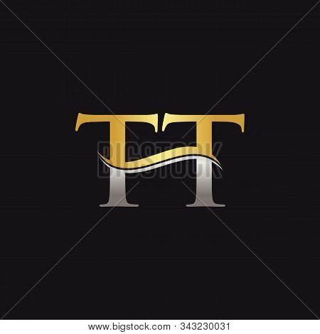 Gold And Silver Letter Tt Logo Design With Black Background. Tt Letter Logo Design