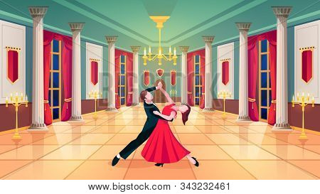 Ballroom Hall, Waltz Dancers In Royal Palace Room, Vector Background. Man And Woman Dancing Waltz In