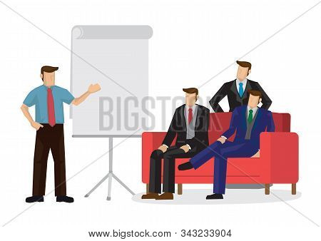 A Businessman Giving A Presentation For A Pitch. Isolated Vector Cartoon Illustration.