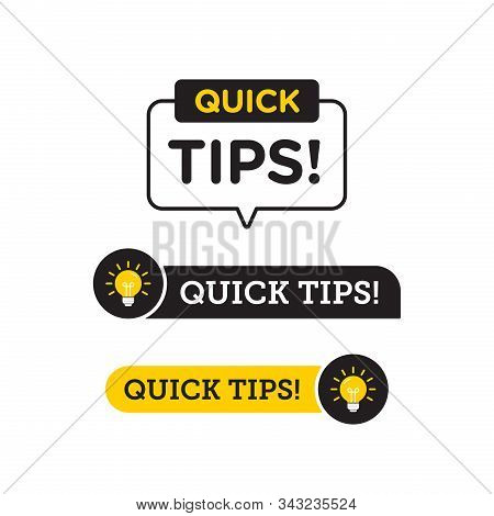 Quick Tips, Helpful Tricks Vector Logo Icon Or Symbol Set With Black And Yellow Color And Lightbulb