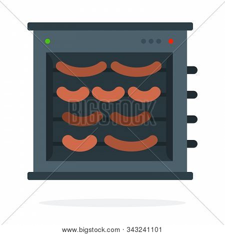 Sausages On Spit In An Electric Grill Vector Flat Isolated