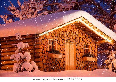 Christmas Hut snow