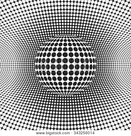 Halftone Dotted Background And Sphere.  Monochrome Vector Illustration For Design